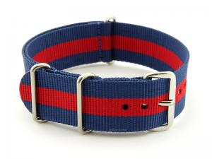NATO G10 Watch Strap Military Nylon Divers 3 rings Blue/Red (3) 20mm