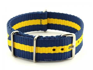 NATO G10 Watch Strap Military Nylon Divers 3 rings Blue/Yellow (3) 20mm