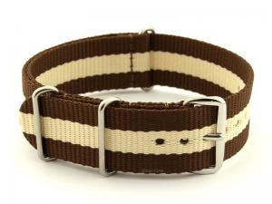 NATO G10 Watch Strap Military Nylon Divers 3 rings Brown/Cream (3) 24mm