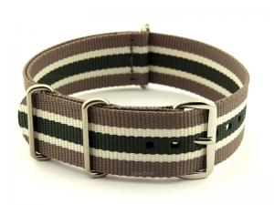 NATO G10 Watch Strap Military Nylon Divers 3 rings Hazel/Cream/Green (5) 22mm