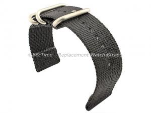 TWO-PIECE NATO Strong Nylon Watch Strap Divers Brushed Rings Black 20mm