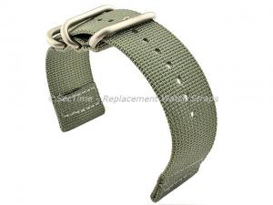 TWO-PIECE NATO Strong Nylon Watch Strap Divers Brushed Rings Grey 24mm