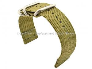 TWO-PIECE NATO Strong Nylon Watch Strap Divers Brushed Rings Olive Green 22mm