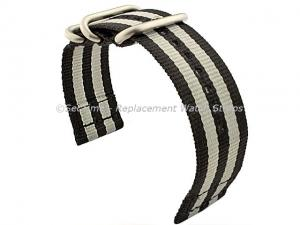 TWO-PIECE NATO Nylon Watch Strap Bond-Style Brushed Rings Black/Grey 26mm