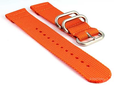 TWO-PIECE NATO Nylon Watch Strap Bond-Style Brushed Rings Orange 18mm