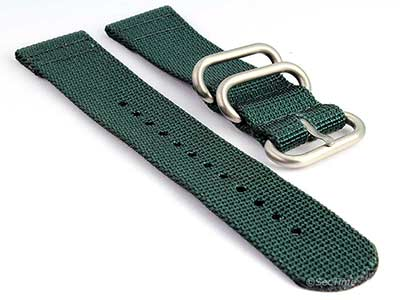 TWO-PIECE NATO Nylon Watch Strap Bond-Style Brushed Rings Green 18mm