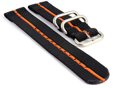 TWO-PIECE NATO Nylon Watch Strap Bond-Style Brushed Rings Black/Orange 18mm