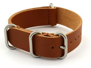 20mm Brown (Tan) - Genuine Leather Watch Strap / Band NATO VINTAGE, Military
