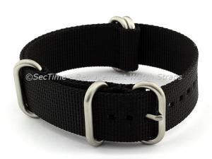 20mm Black - Nylon Watch Strap / Band Strong Heavy Duty (4/5 rings) Military