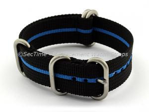 24mm Black/Blue - Nylon Watch Strap/Band Strong Heavy Duty (4/5 rings) Military
