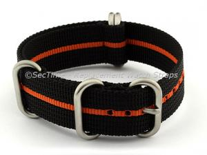 22mm Black/Orange - Nylon Watch Strap/Band Strong Heavy Duty(4/5 rings) Military