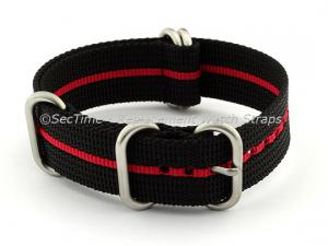 22mm Black/Red - Nylon Watch Strap / Band Strong Heavy Duty (4/5 rings) Military