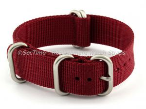 22mm Maroon - Nylon Watch Strap / Band Strong Heavy Duty (4/5 rings) Military
