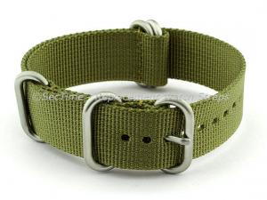 NATO Nylon Watch Strap Strong Heavy Duty (4/5 rings) Military Olive Green 22mm