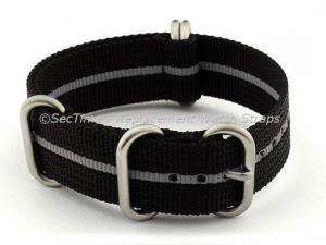 NATO Nylon Watch Strap Strong Heavy Duty (4/5 rings) Military Black/Grey 20mm