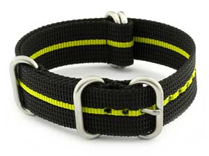 NATO Nylon Watch Strap Strong Heavy Duty 4/5 rings Military Black/Yellow 24mm