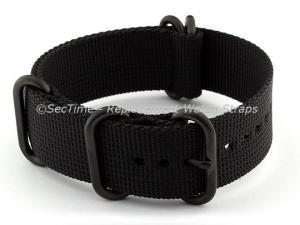 22mm Black - Nato Nylon Watch Strap  Strong Heavy Duty (4/5 rings) PVD