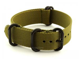 26mm Olive Green - Nato Nylon Watch Strap Strong Heavy Duty (4/5 rings) PVD
