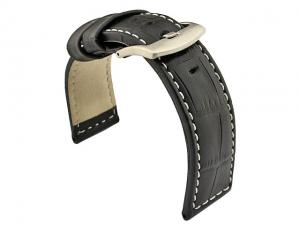 Genuine Leather Watch Strap CROCO PAN Black/White 24mm