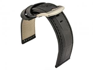 Genuine Leather Watch Strap CROCO PAN Black/Black 24mm