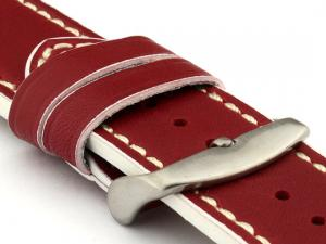 Genuine Leather Watch Band PORTO Red/White 22mm