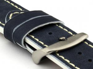 Genuine Leather Watch Band PORTO Navy Blue/White 18mm