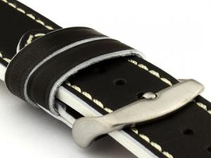 Genuine Leather Watch Band PORTO Black/White 20mm