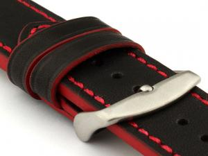 Genuine Leather Watch Band PORTO Black/Red 22mm