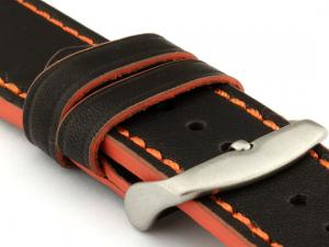 Genuine Leather Watch Band PORTO Black/Orange 22mm