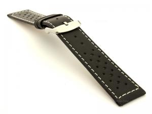 22mm Black/White - Genuine Leather Watch Strap / Band RIDER, Perforated