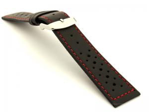 22mm Black/Red - Genuine Leather Watch Strap / Band RIDER, Perforated