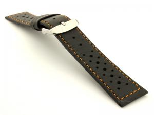 22mm Black/Orange - Genuine Leather Watch Strap / Band RIDER, Perforated