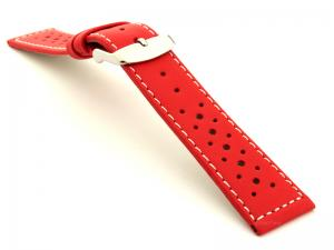 20mm Red/White - Genuine Leather Watch Strap / Band RIDER, Perforated