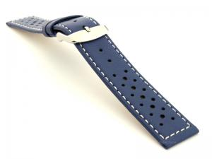 22mm Blue/White - Genuine Leather Watch Strap / Band RIDER, Perforated