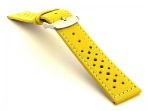 18mm Yellow/White - Genuine Leather Watch Strap / Band RIDER, Perforated
