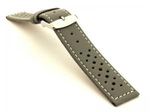 22mm Grey/White - Genuine Leather Watch Strap / Band RIDER, Perforated