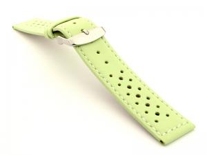 20mm Pistachio/White - Genuine Leather Watch Strap / Band RIDER, Perforated