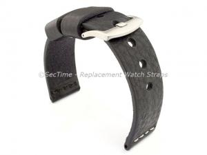 Genuine Leather Watch Strap RIVIERA RM Black/White 22mm