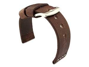 Genuine Leather Watch Strap RIVIERA RM Dark Brown/White 18mm