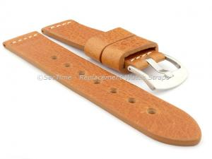 Genuine Leather Watch Strap RIVIERA Extra Long Brown(Tan)/White 20mm