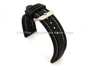 Silicon Rubber Waterproof Watch Strap Panor Black / White 20mm