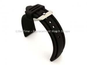 Silicon Rubber Waterproof Watch Strap Panor Black / Black 20mm