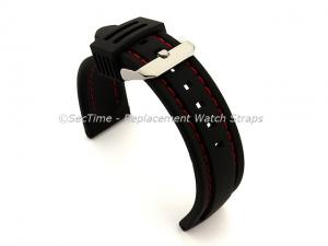 Silicon Rubber Waterproof Watch Strap Panor Black / Red 22mm