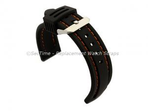 Silicon Rubber Waterproof Watch Strap Panor Black / Orange 20mm