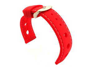 WATCH STRAP Silicon SPORTS Waterproof Stainless Steel Buckle Red/White 22mm