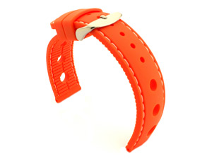 WATCH STRAP Silicon SPORTS Waterproof Stainless Steel Buckle Orange/White 22mm