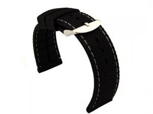 16mm Black/White - Silicon Watch Strap / Band with Thread, Waterproof