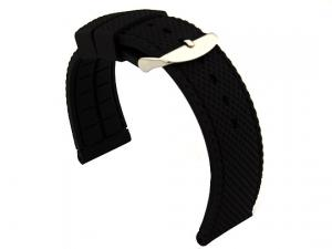 22mm Black/Black - Silicon Watch Strap / Band with Thread, Waterproof