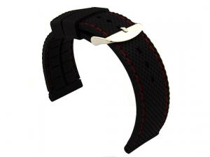 22mm Black/Red - Silicon Watch Strap / Band with Thread, Waterproof