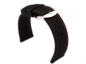22mm Black/Orange - Silicon Watch Strap / Band with Thread, Waterproof